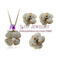 18K Real Gold Plated Nickle free Retro oil drip Flowers  feast Necklace&Earrings&Rings Jewelry Set,FREE SHIPPING JS062