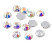 6.3 MM Flatback Glass Rhinestone Buttons Beads White AB Color for Nail Art / Garment / Shoes / Bag Decoration -72PCS