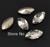 18*9MM Pointback Marquise Shape Glass Rhinestone Buttons Beads Clear White Color -20PCS