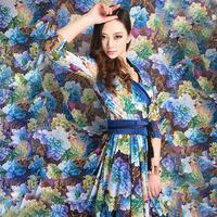 New Fancy Ultra Long Dresses Women Fashion Elegant Chiffon Dress With Belt Full Flowers Print Ladies Slim Dress Free Shipping