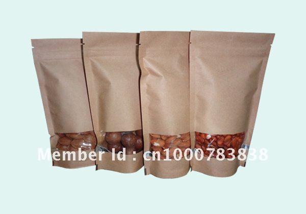 Usine directement la vente standup sac en papier kraft avec fenêtre et fermeture à glissière pour sacs d'emballage alimentaire