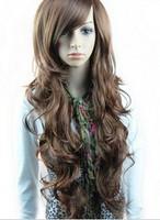 Free Shipping  Girls scroll fluffy oblique bangs big wave repair linen wig