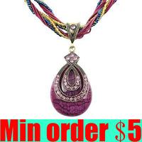 2013 Newest Purple Bohemia Necklace Braided Necklace Crystal Pendant Free Shipping B122 B123 B124
