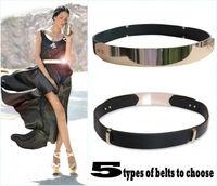 Elastic Mirror Metal Waist Belt Leather Metallic Bling Gold Plate Wide Obi Band Cummerbunds Free Shipping Wholesale