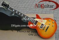 one-piece set neck custom shop sunburst mahogany body electric guitar Free Shipping