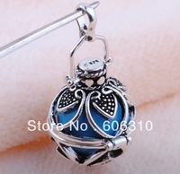 H10-20-D11 Unique Design 1pc New style 925 Silver Cage and sky blue Harmony Ball Jewelry Pendant