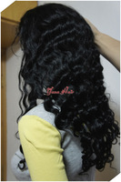 Yana Hair 100% Chinese Virgin Remy Human Hair 18'' full lace Wig #1 color Valentine's Day 15% off Deep Wave Style ,Woman Fashion