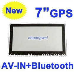 free shipping 4GB card 7 inch MTK newest style car GPS navigation,DDR 128M,Bluetooth+AV IN+FM,MTK solution,500 MHz,CE 6.0(China (Mainland))