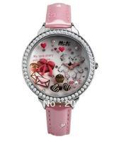 MNS905A MINI watch double layer glass 3D flower watch DIY Handmade Genuine Leather Quartz Ladies watch 1pc+free shipping