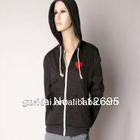 2013 Wholesale Single grey solid color cotton couple hoodie