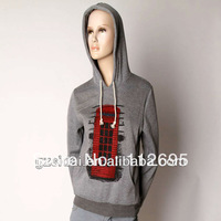 2013 Wholesale Single grey solid color cotton thick hoodies