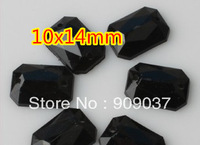 10x14mm 1000Pcs Black Color Octagonal Rectangle/Square Acrylic Sew On Stone Flatback Sewing Button Stones
