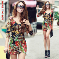 2013 spring new arrival sexy vintage slim hip slim fancy one-piece dress