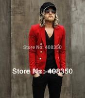 Men's Fashion Cool T-stage Runway Golden Button Slim-fit Short Design Casual Blazer Jacket/Suit, Red/Black/White