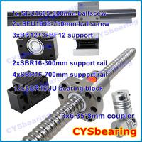 3 ball screw RM1605 300 750mm linear rail SBR16 (6 shaft support rails+ 12 SBR16UU blocks) + 3sets BK/BF12 + 3pcs coupling