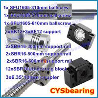 3 ball screw RM1605 310 510 610mm linear rail SBR16 (6 shaft support rails+ 12 SBR16UU blocks) + 3 BK/BF12 + 3 coupling