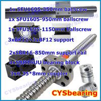 3 ball screw RM1605 350 950 1150mm linear rail SBR16 (2 shaft support rails+ 4 SBR16UU blocks) + 3 BK/BF12 + 3 coupling