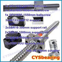3 ball screw RM1605 350 1050 1550mm linear rail SBR16 (6 shaft support rails+ 12 SBR16UU blocks) + 3 BK/BF12 + 3 coupling