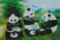 item no.YX1047,free shipping 3D picture,logo:3 lovely pandas enjoy dinner,size 25x35cm,30X40cm,or 35x50cm is optional,50pcs/lot