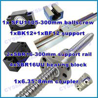 ball screw RM1605 300mm linear rail SBR16 300mm  (2 shaft support rails+ 4 SBR16UU blocks) + BK/BF12 + coupling