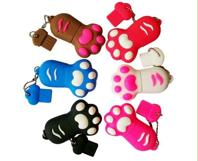 Full Capacity Gifts USB Flash Drives 8GB Cute Cat/Dog/Bear Paw Cartoon Pen Drive 2 pcs/lot Free Shipping(China (Mainland))