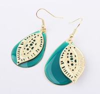 Min order $10 USD 2013 European and American fashion flower Water drop earrings for women jewelry SPX2098 Green