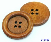 Large Four Holes  Light Brown  WOOD BUTTON  , Sewing DIY Craft   28mm