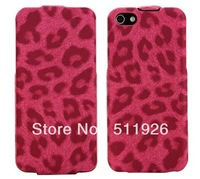 2012 New Slim Flip Leather Case for iPhone 5 5G, Fashion Leopard Skin for iphone Free shipping