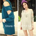 2013 new fashion plus size women clothing t shirt korean style punk sexy tops tee clothes Long sleeve T-shirt shoulder Hole