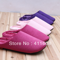 Free home delivery slippers indoor floor couple household plush warm soft bottom winter cotton shoes leather bottom waterproof