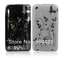 1pc New Butterfly Flower Hard Plastic Cover Case  for iPhone 3G 3GS free shipipng ( Hong Kong Air Mail)
