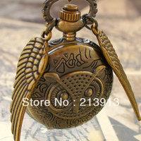 FREE DHL!!! 100pcs  wholesale Flying OWL pocket WATCH necklace steampunk pocket watch Necklace