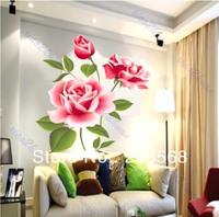 Free Shipping Rose Flower Hot Selling Vinyl Wall Sticker DIY Decoration Fashion Wall Sticker