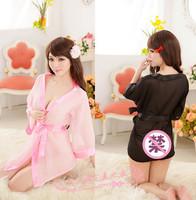 Women's sexy underwear sexy bathrobe soft chiffon tulle transparent temptation of perspectivity sleepwear nightgown uniform