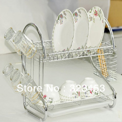 FREE SHIPPING 1set Kitchen basket Multi-function Double-layer dish bowl frame Shelves Dish rack #yphb-Y28767(China (Mainland))