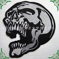 Free Shipping 5pcs/lot Fashion Punk Style Gingham DIY Stickers Skull Cotton Clothes Paste Patches Gifts 18*19.5cm Wholesale
