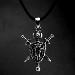 free shipping ancient silver &bronze plated individuality men's jewelry 2013origamiru game Knight's aword pendant necklace(China (Mainland))