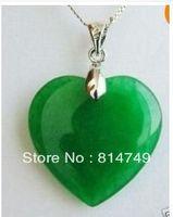 Green Jade Heart Shape Silver emerald Pendant /necklace .