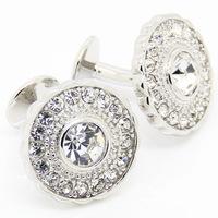 Elegant Circular Crystal Cufflinks
