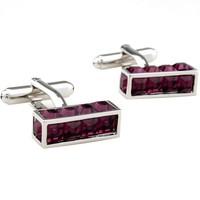 Romance red crystal bar shape cufflinks