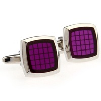 Classic Fashion Cufflinks Square Purple Epoxy Cuff Links