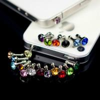 Luxury Phone Accessories Small Diamond Rhinestone 3.5mm Dust Plug Earphone Plug For Iphone & Ipad & Samsung& HTC Wholesales PY