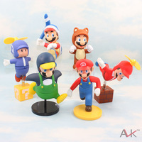 Wholesale Retail Free Shipping Plastic Super Mario Bros Luigi 6pcs/set 12-14cm PVC Action Figure Toys Baby Gifts Doll