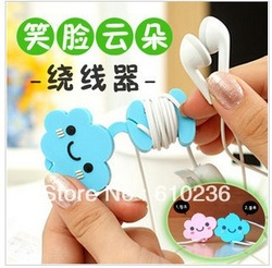 free shipping Cute smile cloud wrap cable manager wire tidy earphone winder Organizer holder for headphone MP3, MP4 Ipod(China (Mainland))