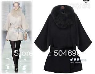 Mujeres lana mezclas escudo 2013 de lana Poncho moda cuello de piel abrigo de capa delgada de lana de cachemira ropa prendas de vestir exteriores de la chaqueta de señora