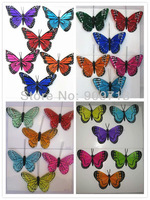 DHL free shipping mutiple color small size simulation feather butterfly wedding decoration magnet sticker 48pcs\lot