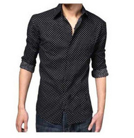 Men's clothing long-sleeve shirt male shirt slimming men's slim black dot shirt clothing