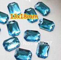 500Pcs/lPack Rectangle/Square Acrylic Sew On Stone Flatback Sewing Buttons 13x18mm rectangular octagonal Blue-green 500pcs/lot