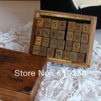 wholesale free shipping Wooden vintage block Antique numbers+weather+week Stamps Handwriting carved gift toy 28PC/set