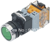 Free shipping LA38-11DN   Round push botton   switch  Dia 22mm 250VAC 6A with RED,YELLOW,GREEN color light optional 220V,24V,12V